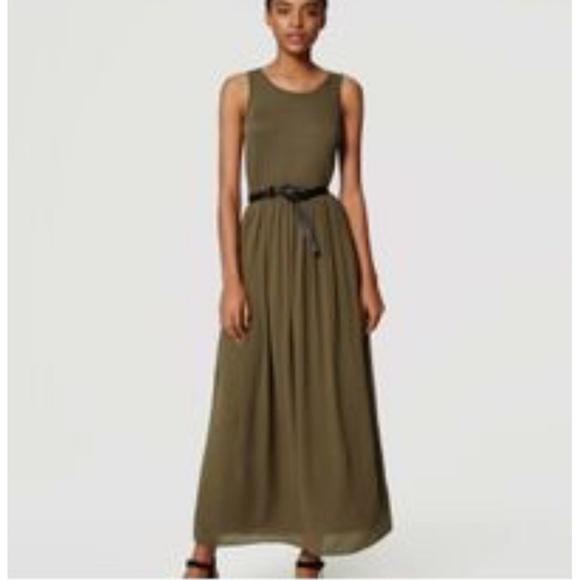 LOFT Dresses & Skirts - LOFT Sleeveless Olive Green Maxi Dress